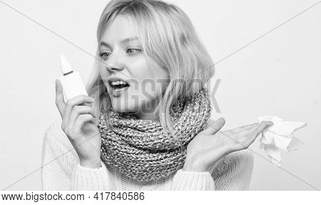 Breathing In Gently. Treating Common Cold Or Allergic Rhinitis. Cute Woman Nursing Nasal Cold Or All