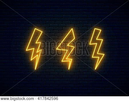 Neon Lightning Bolt Set. Electric Discharge. High-voltage Thunderbolt Neon Symbol. Thunder And Elect