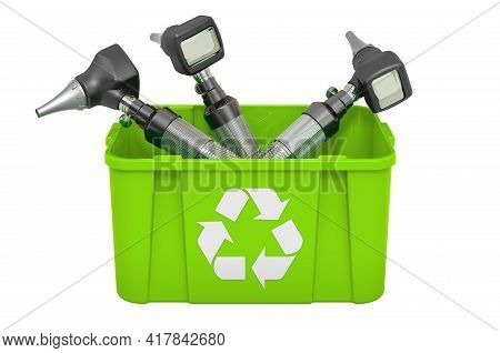 Recycling Trashcan With Otoscope. 3d Rendering Isolated On White Background