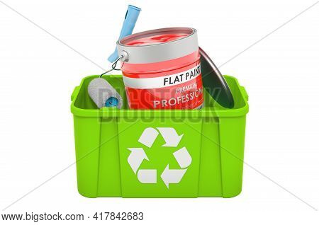 Recycling Trashcan With Paint Can And Roller Brush. 3d Rendering Isolated On White Background