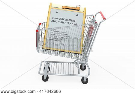 Shopping Cart With Lithium Ion Cell Phone Battery, 3d Rendering Isolated On White Background