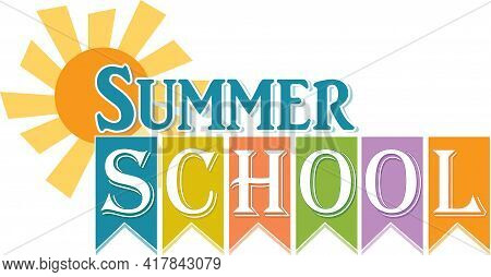 Summer School Banner With Sun And Ribbon Design