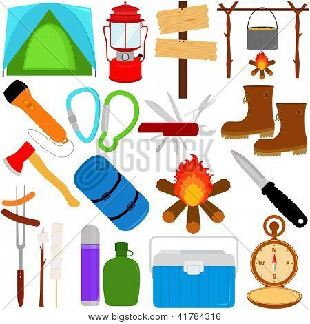 Vacation - Outdoor Travel : Trekking and Camping vector icons / symbol collection