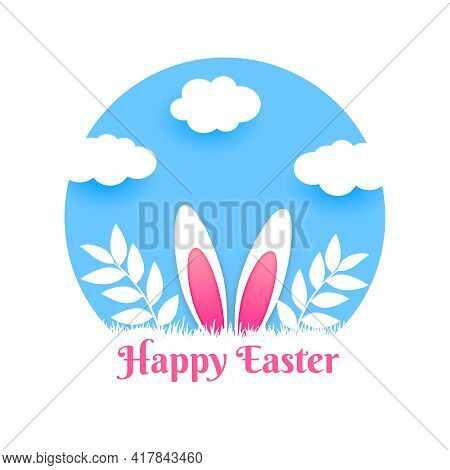 Papercut Style Happy Easter Card Design Vector Illustration