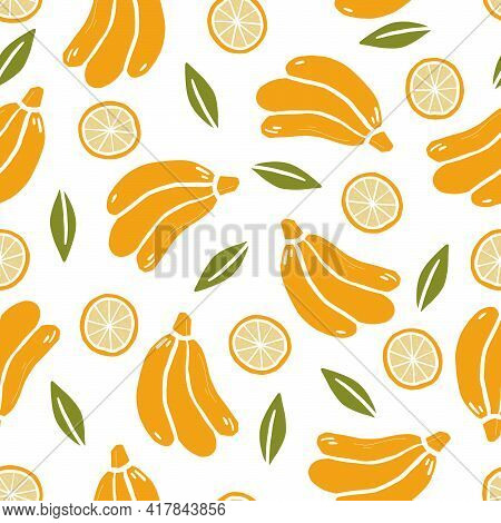 Hand Drawn Seamless Pattern Of Simple Banana. Doodle Sketch Style. Banana Pattern For Food Shop, Fru
