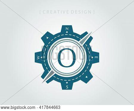 Compass Badge Letter O Logo Icon Design Element. Navigator Concept Logo Template.