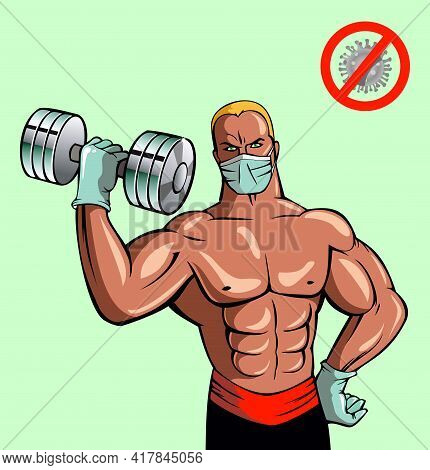 Bodybuilding Man Builds Muscles Through Tension With Dumb Bells, Using Protection, Vector Illustrati