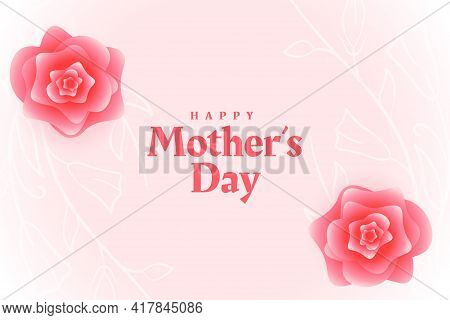 Happy Mothers Day Flower Decorative Card Design Vector Illustration