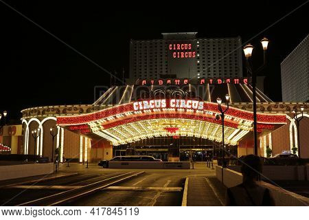 Las Vegas, Nv, Usa, 2.09.2020 - Circus Circus Hotel, Casino Theme Park. Only Rv Park On Strip Provid