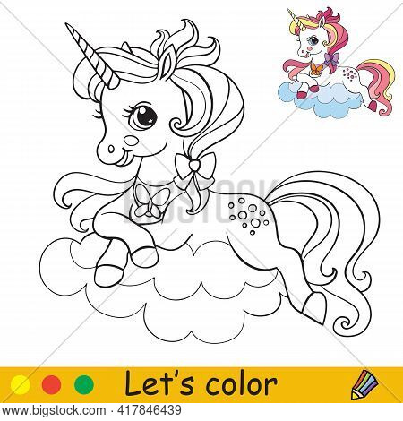 Cute Unicorn Lying On A Cloud. Coloring Book Page With Colorful Template. Vector Cartoon Isolated Il