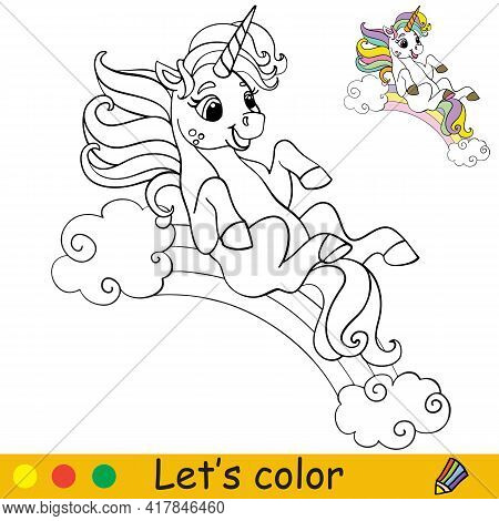Cute Unicorn Rolls Down The Rainbow. Coloring Book Page With Colorful Template. Vector Cartoon Isola