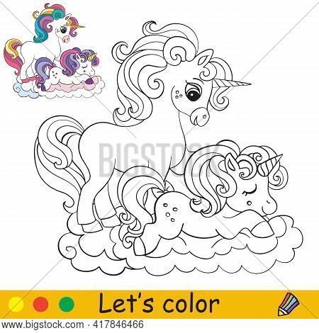 Cute Mom And Baby Unicorns Coloring Book Page With Colorful Template. Vector Cartoon Isolated Illust