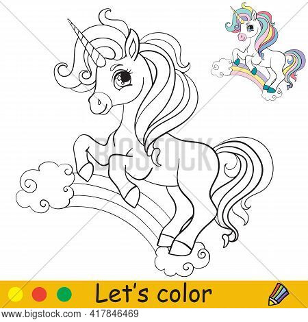 Cute Unicorn Standing On A Rainbow. Coloring Book Page With Colorful Template. Vector Cartoon Isolat