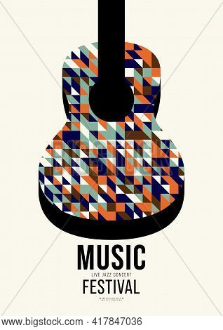 Music Poster Design Template Background Decorative With Guitar And Mosaic Geometric Shape. Design El