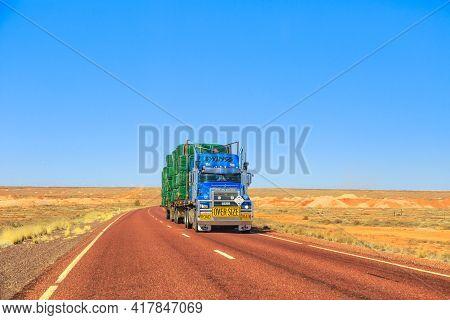 Northern Territory, Australia - August 27, 2019: Ewings Mack Road-train Truck Crossing The Highways