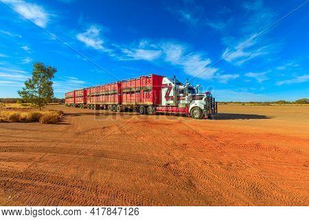 Marla, South Australia, Australia - August 29, 2019: Kenworth Road-train Truck Of Hayson Haulage Of