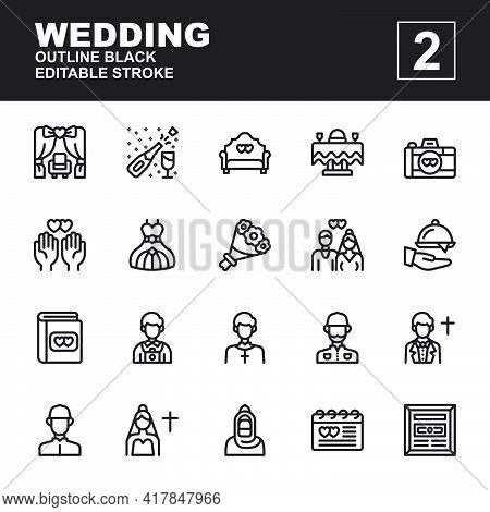 Icon Set Wedding Made With Outline Black Technique, Contains A Arch, Decoration, Champagne, Chair, G