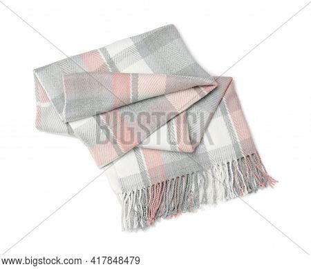 Stylish Cashmere Scarf Isolated On White, Top View