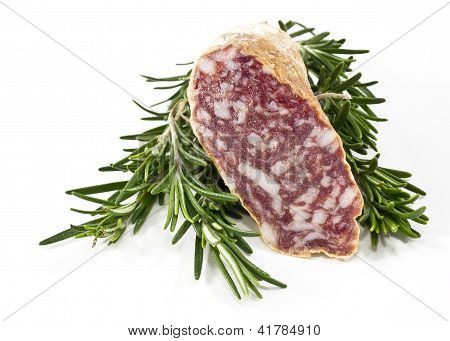 Slices Of Salame And Rosemary