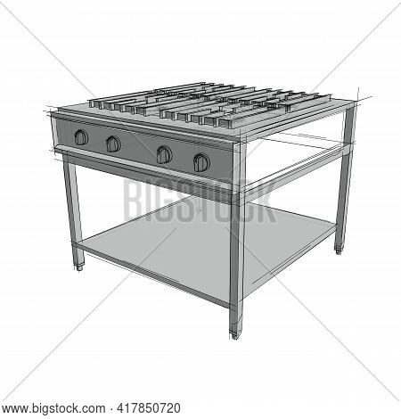 Technical Drawing Of A Restaurant Cooker In An Architectural Style. Schematic Vector Illustration Of