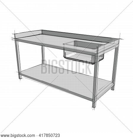 Technical Drawing Of A Restaurant Sink In An Architectural Style. Schematic Vector Illustration Of C