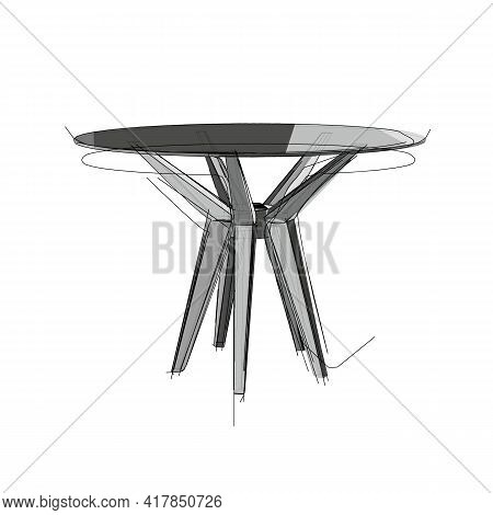 Technical Drawing Of A Restaurant Round Table In An Architectural Style. Schematic Vector Illustrati