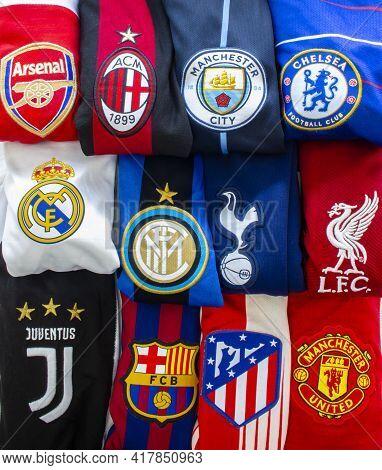 Chamartín, Madrid, Spain. April 19, 2021. Vertical View Of The Super League Or European Super League