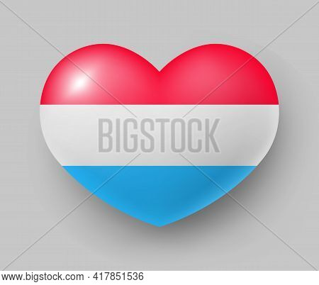 Heart Shaped Glossy National Flag Of Luxembourg. European Country National Flag Button, Symbol Of Lu