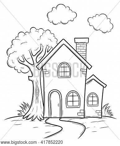 House With Tree Coloring Book For Children. Handdrawn