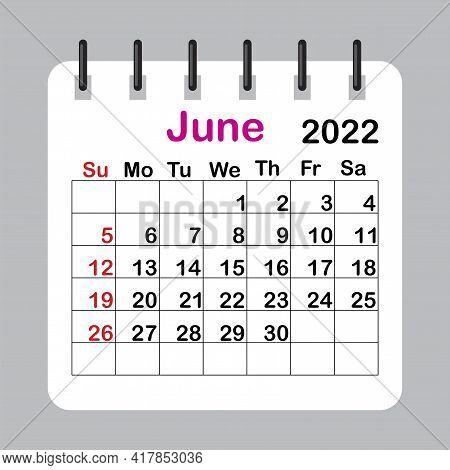 Template Calendar 2022. June 2022 Calendar Sheet In Abstract Style. Vector Illustration. Eps 10.