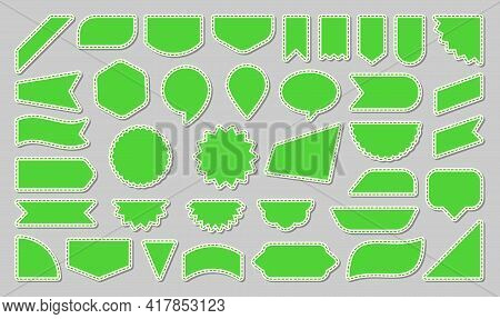 Label Green Flat Icon Set. New, Sale, Offer Sticker. Buy Banner Collection. Promotion Paper Ribbon S