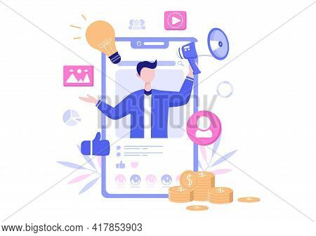 Social Media Marketing Illustration For Advertising Online Service Platform, Online Course, Analytic
