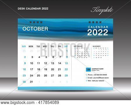Desk Calender 2022, October Month Template, Calendar 2022 Template, Planner, Simple, Wall Calendar D