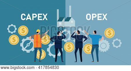 Capex Opex Capital Expenditure Operation Expenses Gear Coin Finace Operation By Businessman