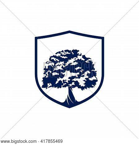 Shield Oak Leaf Logo Design Vector Illustration, Creative Oak Tree Logo Design Concept Template, Sym
