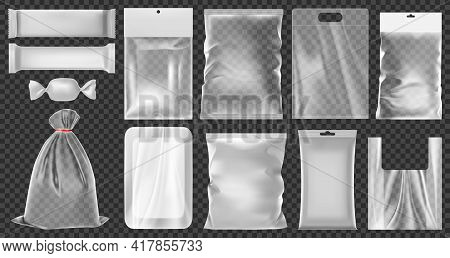 Realistic Plastic Package. Empty Vacuum Plastic Containers, Clean Polythene Food Packaging Vector Il