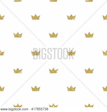 Seamless Ornament With Golden Crowns On White Background. Royal, Luxury, Vip, First Class. Monarchy,