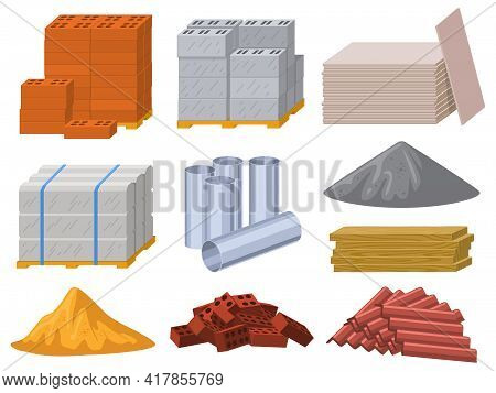 Building Materials. Construction Industry Bricks, Cement, Wooden Planks And Metal Pipes Vector Illus
