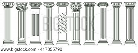 Ancient Classic Pillars. Greek And Roman Architecture Pillars, Historic Architectural Columns Isolat