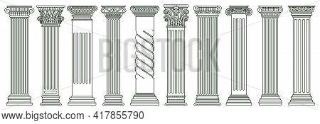 Ancient Classic Pillars. Greek And Roman Architecture Pillars, Historic Architectural Columns Isolat