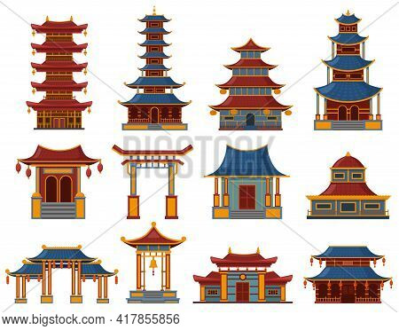 Chinese Buildings. Architectural Asian Temples, Palaces And Pagoda Houses, China Cultural Objects Ve