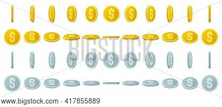 Gold Coins Animation. Spin Gold And Silver Coins, Shiny Gambling Coins Rotation For Game Interface V