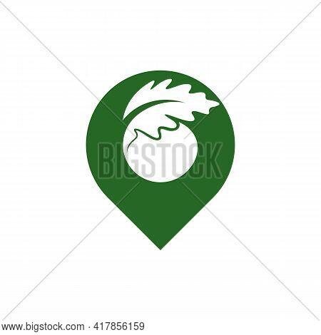 Point Oak Leaf Logo Design Vector Illustration, Creative Oak Tree Logo Design Concept Template, Symb