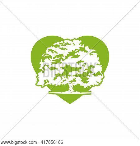 Love Oak Leaf Logo Design Vector Illustration, Creative Oak Tree Logo Design Concept Template, Symbo