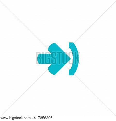 Enter Or Log In Icon. Isolated On White. Blue Right Sharp Arrow With Bracket. Sign In Icon. Profile,