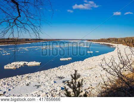 Ice Drift Along The Tom River. Tomsk. Russia.