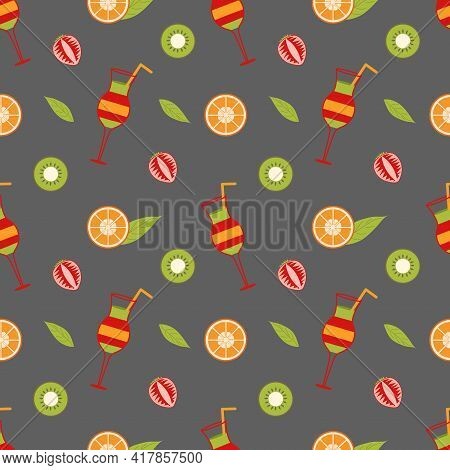 Background With Mix Cocktail And Slices Of Orange, Strawberry, Kiwi And A Leaf On A Gray Background.