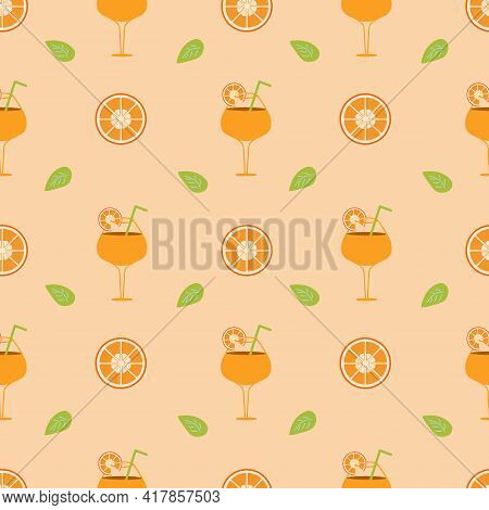 Background With Orange Cocktail And Orange Slices With Leaf On An Orange Backdrop. Seamless Vector I