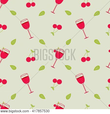 Illustration Depicting A Cocktail With Cherries And A Green Leaf On A Green Background. Seamless Vec