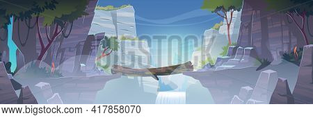 Mountain Landscape With Log Bridge Above River With Waterfall In Fog. Vector Cartoon Illustration Of